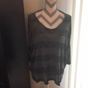 Tops - Silver and black stripped sparkly shirt